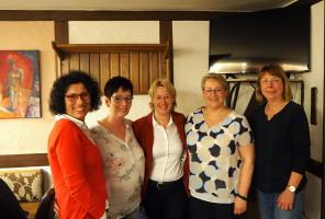 von links Kreisvorsitzende Helga Raab-Wasse, OV-Kassiererin Andrea Wolleb, Martina Fehlner, MdL, OV-Vorsitzende Petra Weinert und Kreisrätin Monika Wolf-Pleßmann